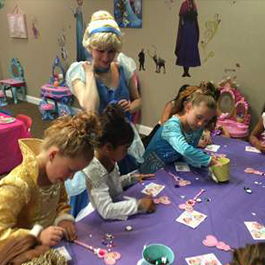 Cinderella at the table with the kids