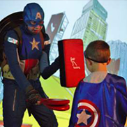 Captain and kid in a Captain America suit